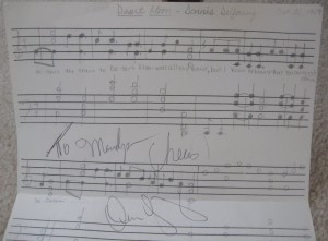 "Dennis DeYoung signed the sheet music I'd tried to write out for his hit ""Desert Moon"" when I was a teen. I love that song!"